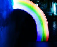 Rainbow lights long exposure lines movement night time Royalty Free Stock Photos