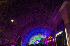 Rainbow lights show at shopping mall during new year period in Beijing, China Stock Photos