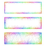 Rainbow line art banner frame design set Stock Photography