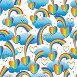 Rainbow line drop love cloud seamless pattern. This illustration is abstract the rainbow with love dropping sky and decoration water drop and cloud colorful royalty free illustration