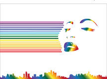 Rainbow line woman Stock Images