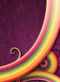 Rainbow lines texturized. Colorful and curly lines against texturized purple background Stock Photography