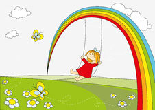 Rainbow little girl Stock Image