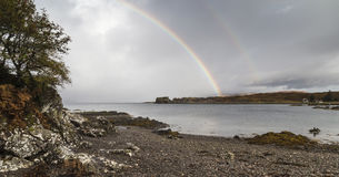 Rainbow on Loch Eishort on the Isle of Skye. Rainbow on Loch Eishort at Tokavaig on the Isle of Skye in Scotland Royalty Free Stock Images