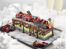 Rainbow Log Cake Christmas with chocolate, strawberries, redberr. Ies and cream deliciously Royalty Free Stock Photo