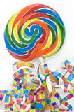 Rainbow Lollipop with Colorful Ribbons Royalty Free Stock Photo