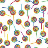 Rainbow lollipop rotate white seamless pattern royalty free illustration