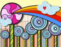 Rainbow lollipop wonderland Stock Image