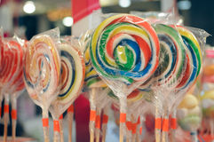 Rainbow lollypop candies closeup picture Royalty Free Stock Photo