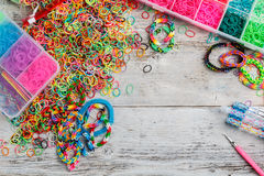Rainbow loom bands Stock Images