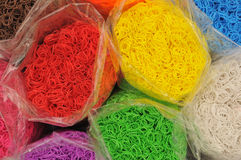 Rainbow Loom bands. Multi-coloured Rainbow Loom bands Royalty Free Stock Photo
