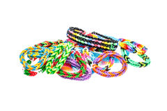 Rainbow loom bracelet Stock Photo