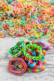 Rainbow loom bracelet Stock Photos