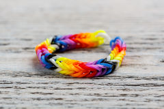 Rainbow loom bracelet Royalty Free Stock Photos