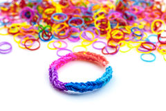 Rainbow loom bracelets Royalty Free Stock Photo