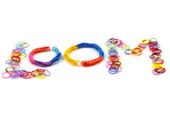 Rainbow loom bracelets Stock Photos