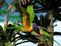 Rainbow Lorikeet Parrots Stock Image
