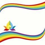 Rainbow And Lotus Border Stock Photography