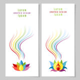 Rainbow Lotuses Cards. Colorful rainbow and flower. Rainbow card or poster templates. Copy space. Vector illustration Stock Images