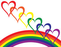 Rainbow Love. A rainbow and colored hearts are featured in an abstract background vector illustration with space for text Stock Images