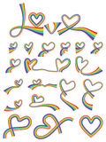 Rainbow love line set. This illustration is design and drawing rainbow love line in isolated set on white color background Stock Image