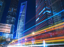 Rainbow Lujiazui in Shanghai Urban Landscape. Night light  trails on the modern building background in shanghai china Royalty Free Stock Photos
