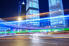 Rainbow Lujiazui in Shanghai Urban Landscape. Night light  trails on the modern building background in shanghai china Royalty Free Stock Image
