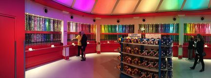 Rainbow M&Ms. Panorama of the M&M store Stock Photos