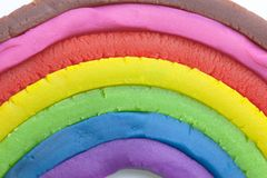 Rainbow made from dough. On white royalty free stock images