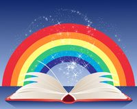 Rainbow magic book with white pages and sparkles on a blue background stock illustration