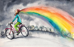Rainbow. Man on bicycle in gray day.His colorful kerchief around his neck transforms into rainbow.Picture created with watercolors Stock Image