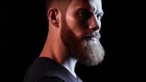 Neon light brutal bearded men portrait