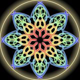 Rainbow mandala composed from multicolored dots, golden aura. Symmetric ornament for spiritual exercises and meditation. Royalty Free Stock Image
