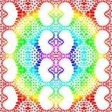 Rainbow mandala hearts seamless pattern. Rainbow color hearts seamless pattern. Coloring in circles mandala style background wallpaper stock illustration
