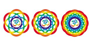 Rainbow mandala with a sign of Aum Om. Abstract artistic object. Rainbow mandala with a sign of Aum Om. Abstract artistic and esoteric object. Spiritual symbol Royalty Free Stock Image