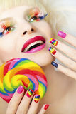 Rainbow manicure. stock photography