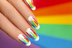 Rainbow manicure. stock photos