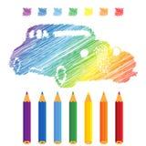 Rainbow manuscript car Stock Images