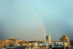 Rainbow marseille. Two rainbows captured over the city of marseille stock photo