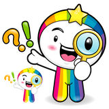 Rainbow mascot examine a with a magnifying glass. Dream of Fairy Royalty Free Stock Photography