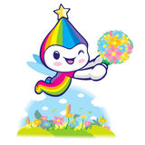 Rainbow Mascot flying to the sky. Dream of Fairy Character Desig Royalty Free Stock Images