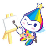The Rainbow Mascot is happy painting. Dream of Fairy Character D Stock Photos