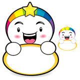 The Rainbow mascot holding a board. Dream of Fairy Character Des Royalty Free Stock Photo