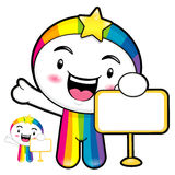 The Rainbow mascot holding a board. Dream of Fairy Character Des Stock Photo