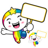 The Rainbow mascot holding a board. Dream of Fairy Character Des Royalty Free Stock Photos