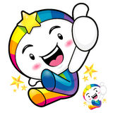 Rainbow mascot jumping. The best gesture of the right hand is ta Royalty Free Stock Images