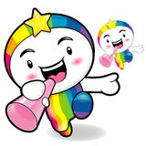 Rainbow Mascot the  Left hand is holding a loudspeaker. Dream of Royalty Free Stock Photo