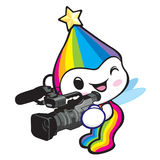 Rainbow Mascot is playing movie shooting. Dream of Fairy Charact Stock Image