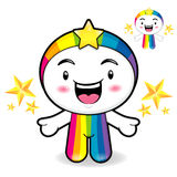 Rainbow Mascot is a polite greeting. Dream of Fairy Character De Stock Image