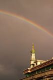 Rainbow with masjid Stock Images